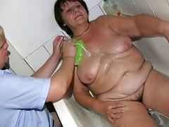 Old chubby Granny has massage from BBW mature Nurs