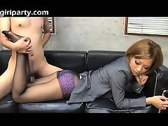Oriental In Ebony Pantyhose Uses Her Legs