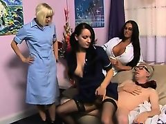 Femdom nurse rides old dick