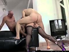 Calm British lady getting double penetration