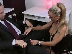 German Milf secretary astonishingly with her boss in the office
