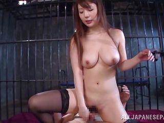 busty yuuka gets wild behind bars