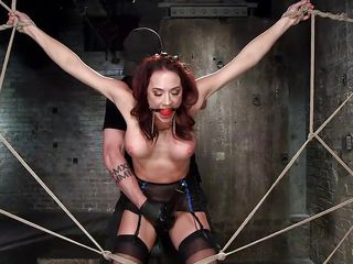 weak babe benefits from fastened up with ropes
