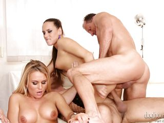 attractive babes have fun with men @ swinger's orgies #10