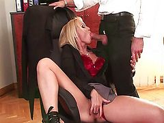 Anal in the office with blonde Kathia Nobili