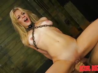 blonde babe's twat got wet in bondage