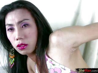 frisky mature lady-boy in bikini teases cock pending cumshot