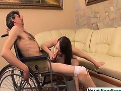 Large brunette amateur curing handicapped guy