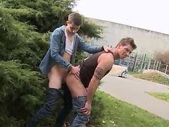 Guy jerking an added gentleman in public gay xxx