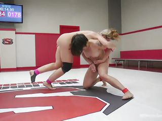 two lesbians wrestle for the domination