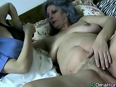 Granny and nurse playing with pussies