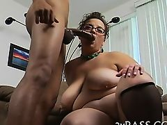 Huge giant brown dong penetrates face hole of nasty plump