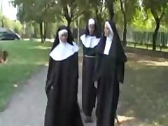 Blonde nun goes for a walk on the wild side and gets fucked