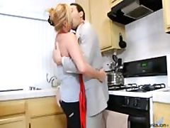 Blonde housewife sucks his cock deep and fucks in kitchen