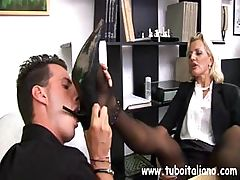 Hardcore Italian MIF with a charming clit makes her assistant do her