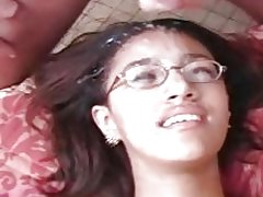 Girl in glasses gets bukkaked