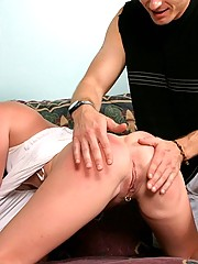 Hottie with a pierced pussy is spanked