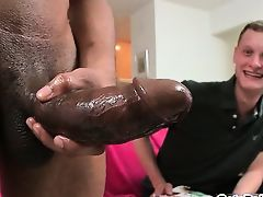 Blond boy riding fat black cock like pro