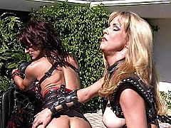 Brunette femdom sub used as a riding horse