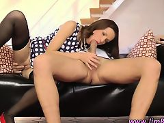 Stockings brunette rides phallus